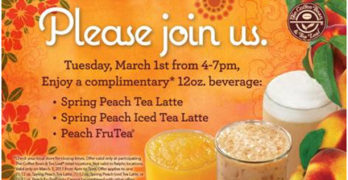 FREE Spring Peach Drinks at The Coffee Bean & Tea Leaf – March 1