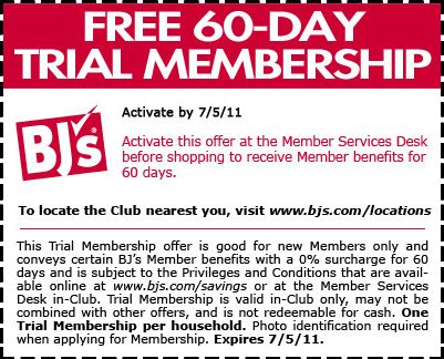Mar 20,  · Check out BJ's Wholesale Club's free day trial membership good through July 6, Simply fill out the BJ's Free Membership Trial Form to pre-register for your free trial. You get a free day trial membership at BJ's Wholesale Club for new members with a coupon(month membership costs $50).