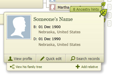 Ancestry.com hint