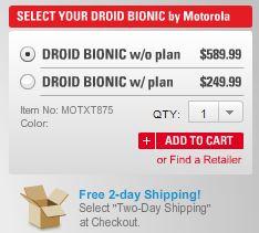 Motorola Bionic Pricing