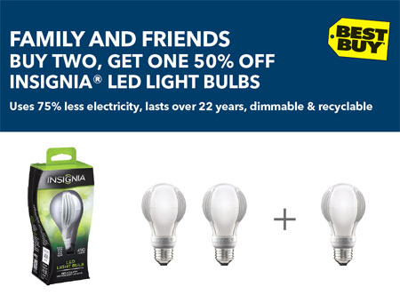 Insignia LED Light Bulb Coupon