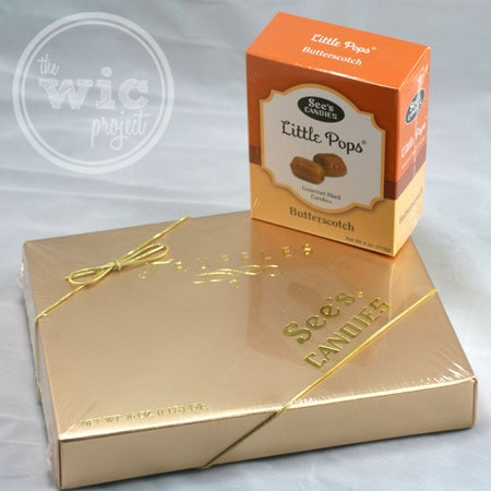 See's Candies Gold Box Truffles and Butterscotch Little Pops