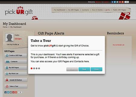 PickURGift.com Dashboard Tour