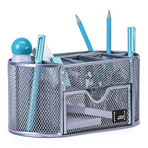 Office Supplies Desk Organizer by Mindspace, 8 Compartments + Drawer | The Mesh Collection, Silver
