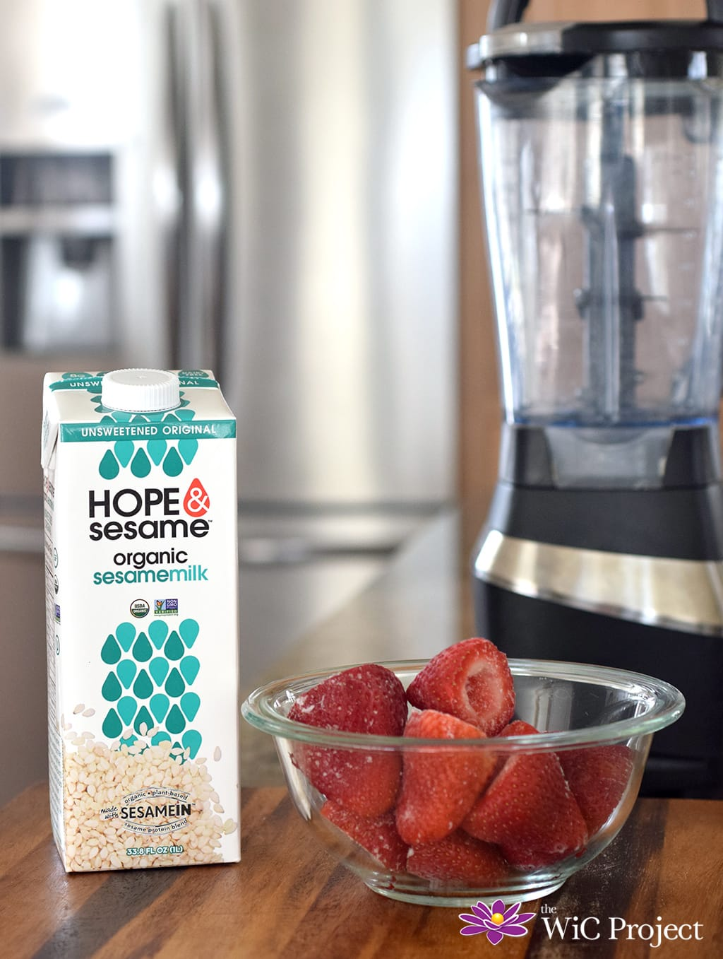 Hope & Sesame organic sesame milk and strawberries Strawberry Banana Sesame Milk Smoothie Recipe