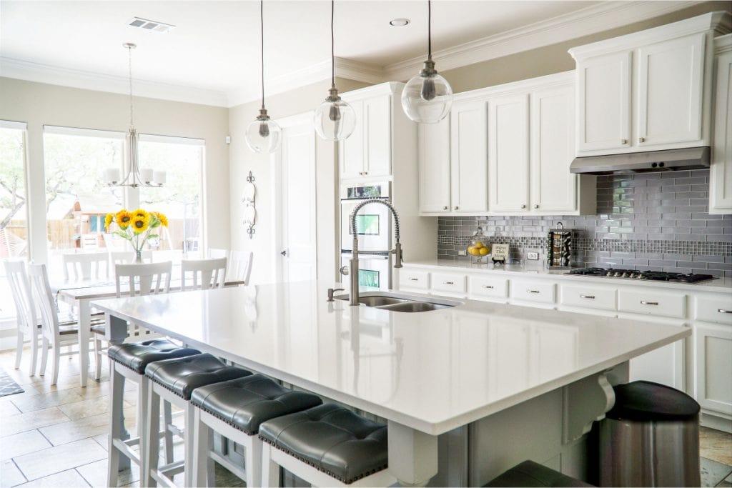 Bright Kitchen with a Stone Countertop