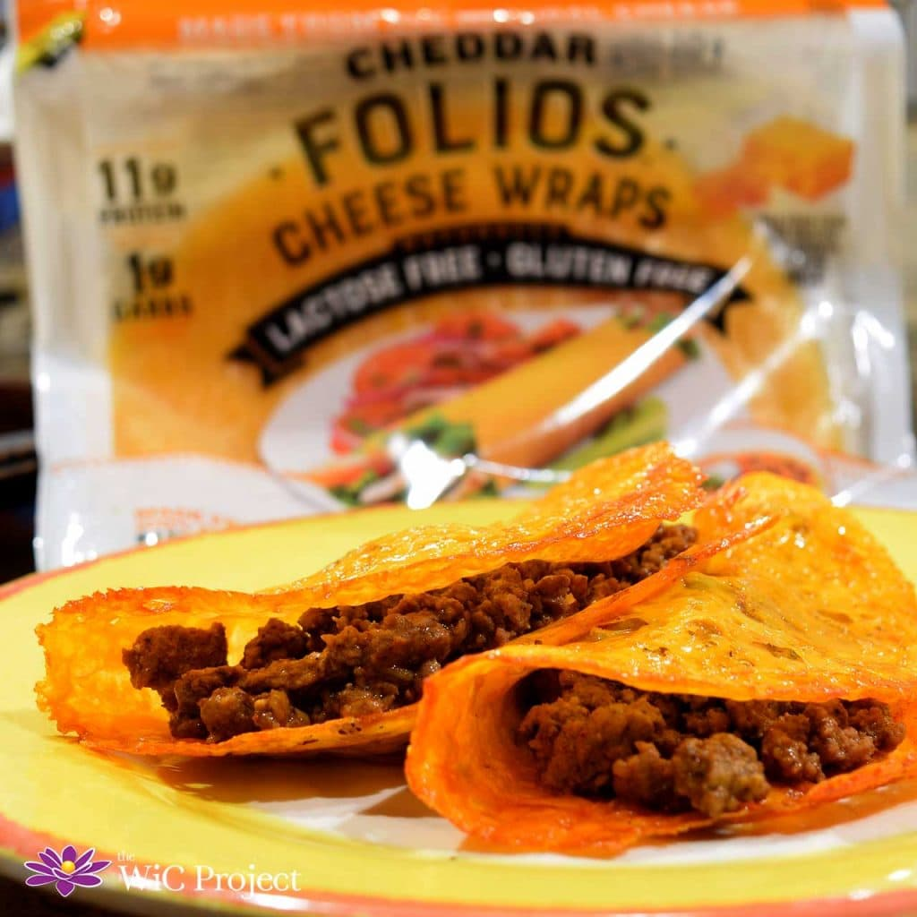 Tacos with Crispy Cheddar Folios Cheese Wraps